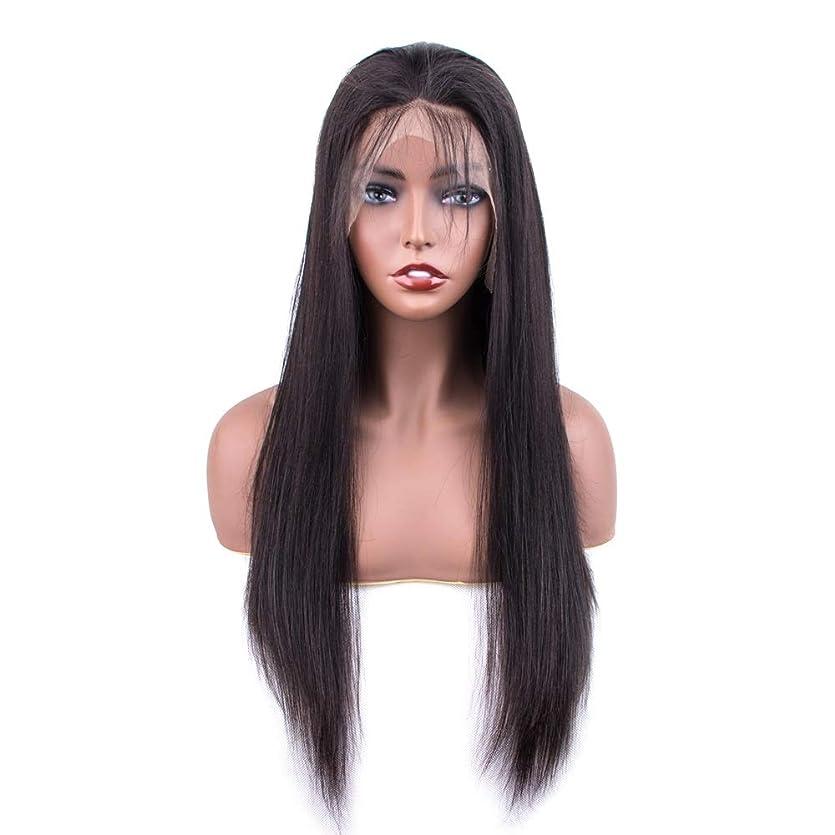 郡絶滅クリアSRY-Wigファッション ファッションレースフロント人間の髪の毛のかつら女性の事前摘み取られた生え際ブラジルストレートレース前頭かつら赤ちゃんの髪 (Color : ブラック, Size : 10inch)