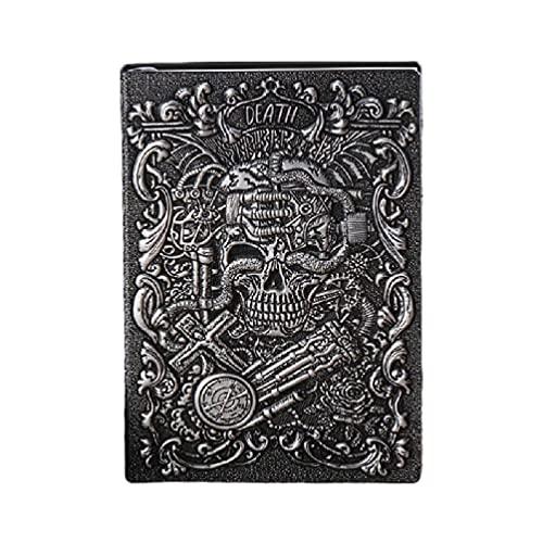 Moreoustitory Cuaderno de escritura vintage con cordón de cuero de la PU en relieve, cuaderno de escritorio de la decoración del diario A5