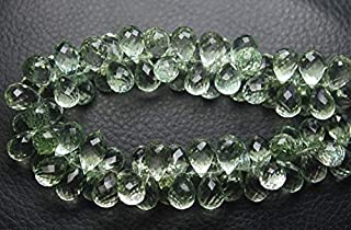 Jewel Beads Natural Beautiful jewellery 4 Match Pair, Super Rare AAA Natural GREEN AMETHYST Faceted Drops Shape Briolettes Calibrated Size 12x8mmCode:- JBB-28690