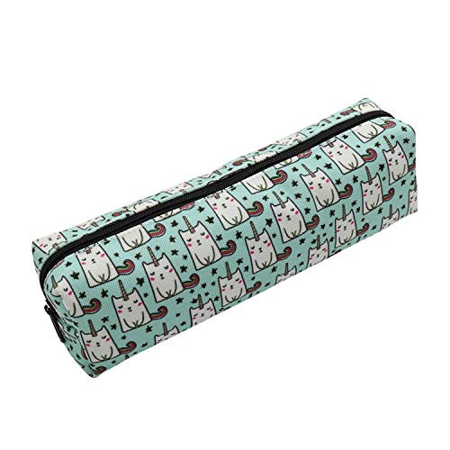 Aiphamy Unicorn Cat Pencil Case Holder Zipper Canvas Pen Pouch Bag for Boys Girls Kids Teens Teenagers Student Women Men