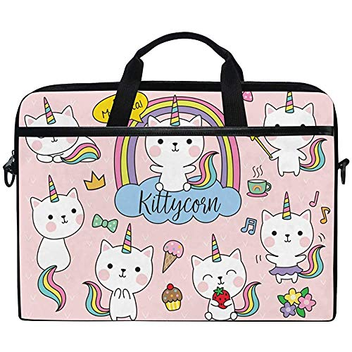 Cute Cat Kitty Rinbow Unicorn Laptop Bag Case Sleeve Briefcase Waterproof Shoulder With Strap For Ultrabook Notebook 14 Inch