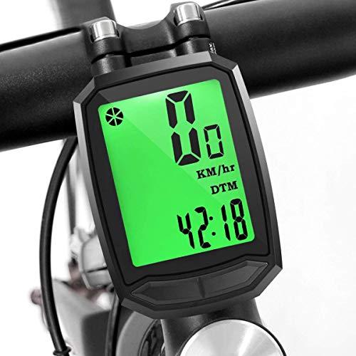 WYYZSS Bicicleta Computadora Bicicleta Velocímetro Inalámbrico Y Cuentakilómetros Luz De Fondo A...