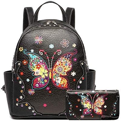 Spring Butterfly Flower Fashion Backpack Women Western Style Biker Purse Studded Shoulder Bag Wallet Set
