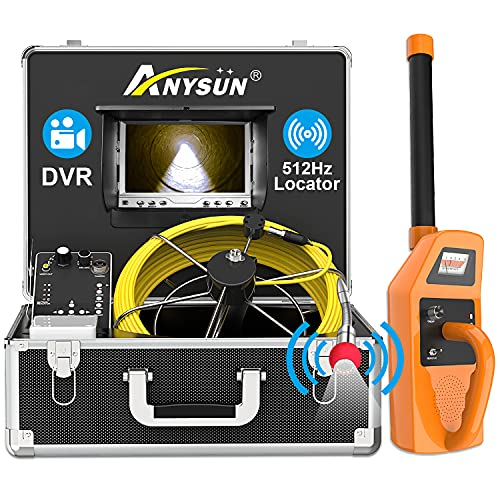 Anysun Sewer Inspection Camera with Locator, 165ft Pipe Camera with 512Hz Sonde Transmitter and Receiver, IP68 Waterproof Industrial Plumbing Endoscope Drain Snake Cam with 7' LCD Monitor