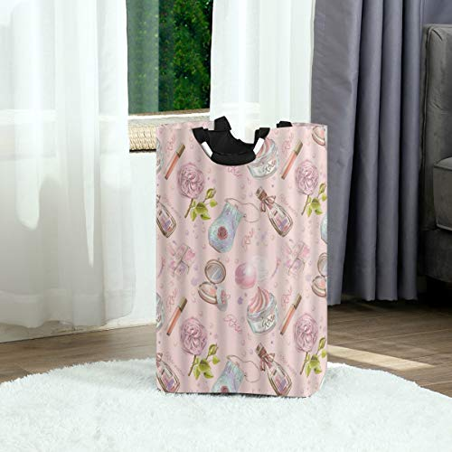 SURERUIM Wäschesack,Rose Parfüm Romantik Mädchen Frau Lady Make-up Gesicht Creme Blume Lippenstift Geometrie Muster,Großer faltbarer Wäschekorb,zusammenklappbarer Wäschekorb