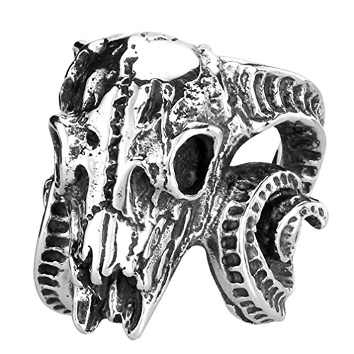 Men's Vintage Gothic Stainless Steel Rings Worship Baphomet Ram Sheep Goat Head Horn Biker Rings Halloween Gifts Size 7