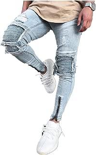 Men Jeans Daoroka Men's Ripped Slim Fit Straight Zipper Denim Pants Vintage Style Motorcycle with Broken Holes (31, Blue)