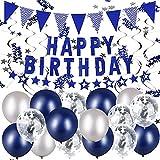 VAINECHAY Decoration Anniversaire Birthday Décoration Kit Deco Ballon Banderole Joyeux Anniversaire Bleu Decor Fete Anniversaires pour Garcon Homme Adulte