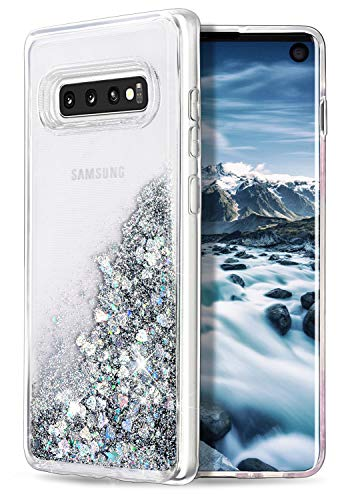 WORLDMOM for Galaxy S10 Case,Double Layer Design Bling Flowing Liquid Floating Sparkle Colorful Glitter Waterfall TPU Protective Phone Case for Samsung Galaxy S10 [6.1 Inch 2019], Silver