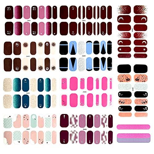 JeoPoom Nagelaufkleber[10 Blatt 140 Stück], Nagelsticker, Nagelkunst Sticker, Nagelkunst Sticker Selbstklebende Maniküre Sticker, Nagel Verpackungen mit Nagelfeile, Mode DIY Dekoration