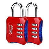 ABRAFOX Padlocks, Heavy Duty 4-Digit Re-settable Combination Codes Locks, Luggage Locks for Gym, Indoor, School or Sports Locker, Toolbox, Fence Daily Use Red 2pack