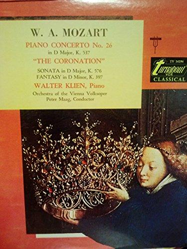 Wolfgang Amadeus Mozart Piano Concerto Nr. 26 in D Major,KV 537/Sonata in D Major, KV 576/Fantasy in D Minor, KV 397(Amerikanische Pressung)