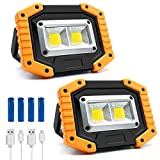 30W 1500LM LED Rechargeable Portable Waterproof COB Floodlight, with Stand Built-in Mobile Power Work Light, for Outdoor Camping Hiking Emergency Car Maintenance and Workplace Lighting, 2 Packs