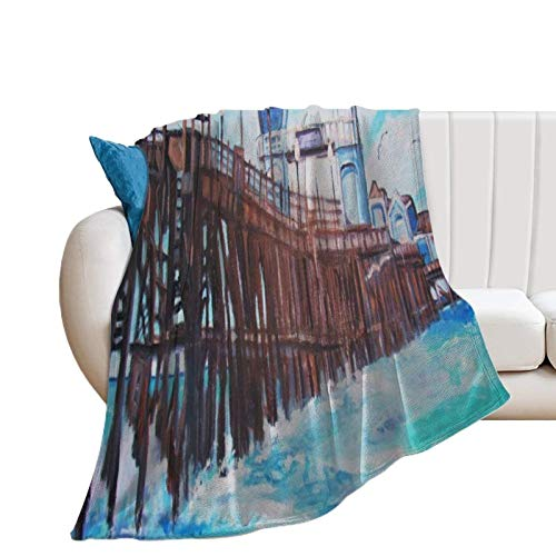 Donghouse Blanket Oceanside Pier Flannel Blanket Comfort Velvet Touch Ultra Plush, Novelty Soft Throw Blankets fit Couch Sofa Bedspread Coverlet Bed Cover 40' X 50'
