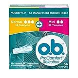 o.b. ProComfort Selection Normal + Mini, Tampons mit Dynamic Fit Technologie & SilkTouch Oberfläche, für ultimativen & zuverlässigen Schutz (1 x 56 Stück)