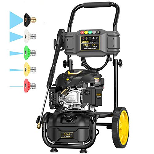 BLUBERY 3200PSI Gas Pressure Washer, 2.4GPM 173CC 6.5HP Power Washer with Unique Design, 25FT Hose&Soap Container, 5 Adjustable Nozzles, Cleaning for Driveway/Concrete/Vinyl Fencing, CARB&EPA CERT…