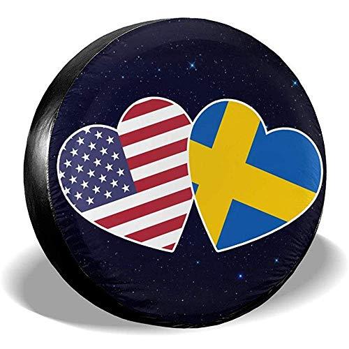 Alice Eva Schwedische amerikanische Flagge Twin Heart Reifenabdeckungen Auto SUV Reiseanhänger Reserveradabdeckungen