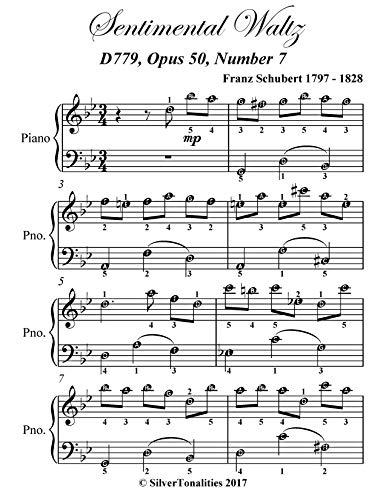 Sentimental Waltz Opus 50 Number 7 Easy Piano Sheet Music (English Edition)