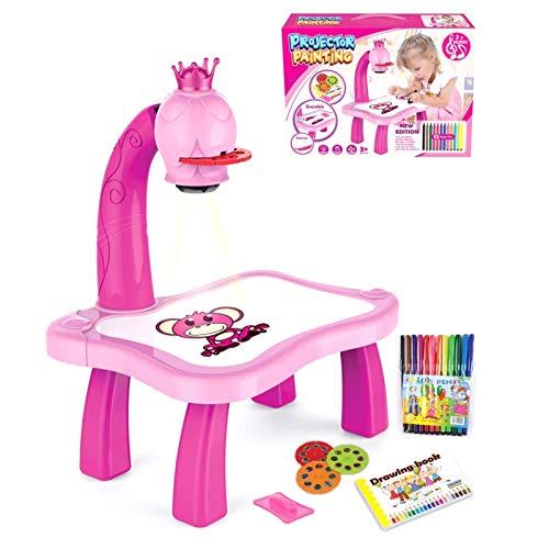 LIUCHANG Máquina de pintura, proyector de dibujo inteligente para niños, proyector de dibujo para niños con 12 bolígrafos de color, juguetes de iluminación, regalo para niños liuchang20 (color: rosa)