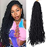 New Faux Locs Crochet Hair 24 Inches Soft Locs Crochet Hair Extension Faux Locs Synthetic Crochet Hair For Women Natural Black 7 Packs/Lot 21 Strand/Pack(24'1B)
