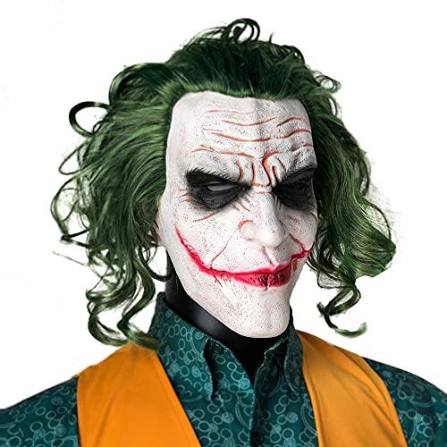 Masque de clown Batman pour Halloween - Motif chevalier noir - En latex - Pour déguisement - Blanc