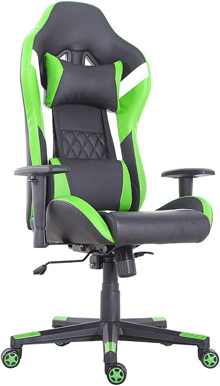 LCH Gaming Office Chair Ergonomic High-Back Desk Chairs Racing Style with Lumbar Support, Height Adjustable Seat, Headrest, Soft Foam Seat, Green