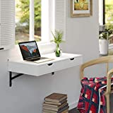 Homfa Mesa de Pared Estante de Pared con 2 Cajones Mesa de Ordenador Escritorio para Oficina Dormitorio Estudio Blanco 80x40x10cm