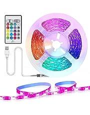 Tiras LED TV 2.2M, TASMOR Tira de LED USB RGB 5050 Sincronización de Música Multicolor, Luces LED Habitación con Control Remoto, Luz LED TV Gaming con Cinta Autoadhesiva 3M para 30-60 pulgada TV/PC