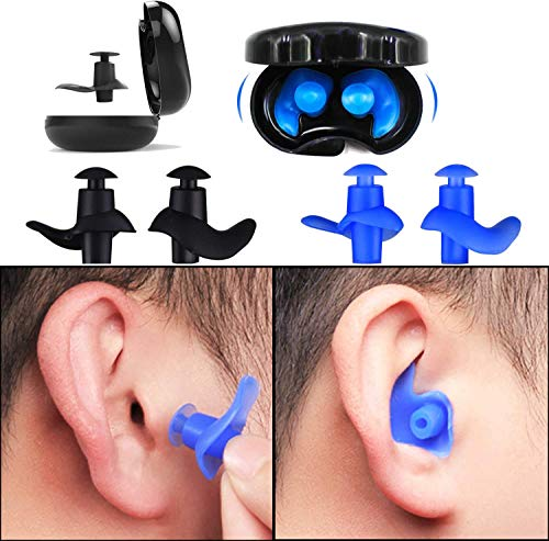 Ear Plugs for Swimming Kids,Blossm Waterproof Reusable Silicone Kids Swimming Ear Plugs for Bathing and Other Water Sports,2-Pairs Pack
