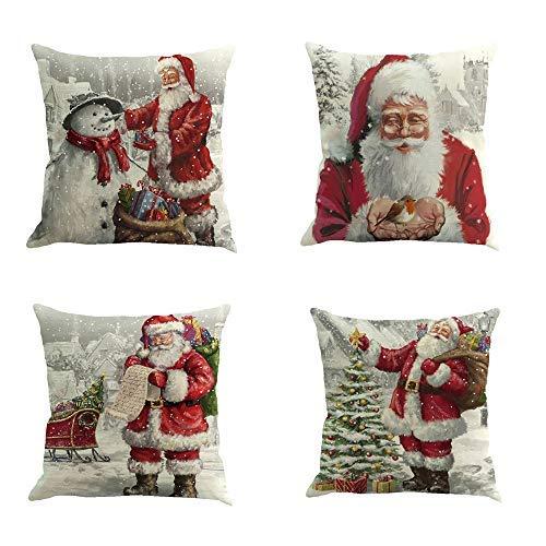 99AMZ 4 Pack Pillow Case - Feliz Navidad Papá Noel Invierno Throw Pillow Case Funda de Almohada para Cojín Decorativas de Navidad Throw Pillow Case Xmas para Jardin Coche Sofá 18x18'' (4PCS-A1)