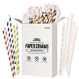 150 pajitas desechables de papel biodegradables, sin plástico, para fiestas, cumpleaños, bodas, decoraciones de bricolaje, 6 colores brillantes, ecológicas