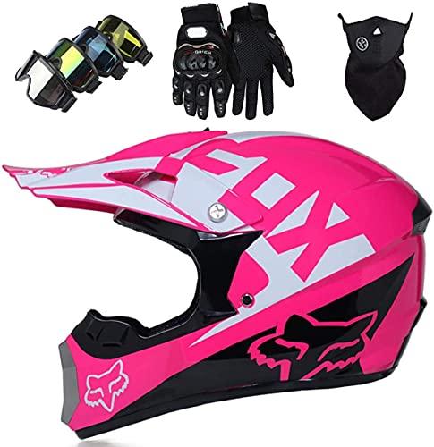 Casco de motocross, Pro Kids Adult DH Fullface Juego de casco cruzado de motocicleta (Máscara de guantes y gafas) para MTB ATV Scooter Downhill Offroad - DOT - con diseño de Fox - Rosa
