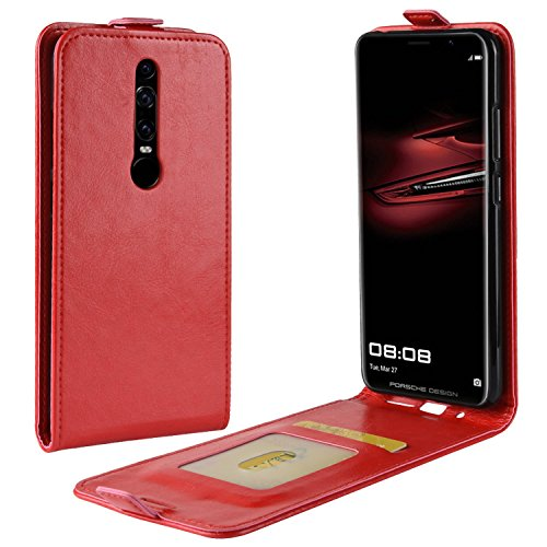 HualuBro Huawei Mate RS Hülle, Leder Brieftasche Etui LederHülle Tasche Schutzhülle HandyHülle [Magnetic Closure] Leather Wallet Flip Hülle Cover für Huawei Mate RS Porsche Design (Rot)