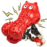 Rmolitty Squeaky Dog Toys for Aggressive Chewers, Tough Dog Chew Toys for Aggressive Chewers Indestructible Durable Dog Chew Toys for Large Medium Breed Dog with Non-Toxic Natural Rubber (Red)