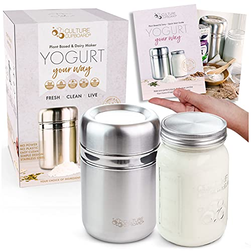 Stainless Steel Yoghurt Maker with 1 Quart Glass Jar and Complete Recipe...