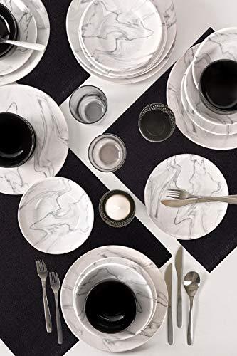 Marmorgeschirr 24-teiliges 6er Set aus Porzellantellern, tiefe Suppenteller, flache Teller, Dessertteller und Schalen, modernes Vintage-Geschirr, kombiniertes Service