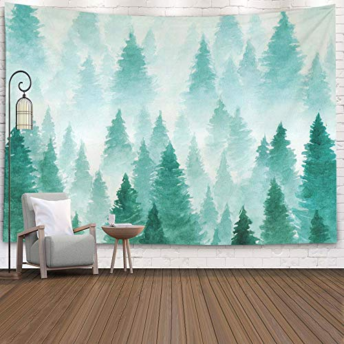 EMMTEEY Watercolor Landscape Foggy Winter Hill Wild Nature Frozen Misty Tapestry Wall Hanging for Living Room Bedroom Home Inhouse 92.5X70.9 Inches for Artwork Background