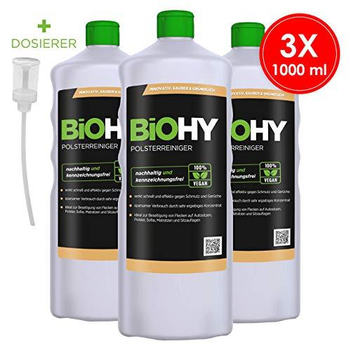 BIOHY Spezial Polsterreiniger 3 x 1 Liter Flaschen + Dosierer | Ideal für Autositze, Sofas, Matratzen etc. | Ebenfalls für Waschsauger geeignet