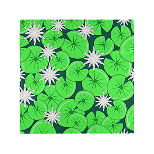 DAIDYA Satin Servietten 6er Set, weiße Seerosen mit Blättern Nahtlose Muster Vektor, quadratische gedruckte Partei