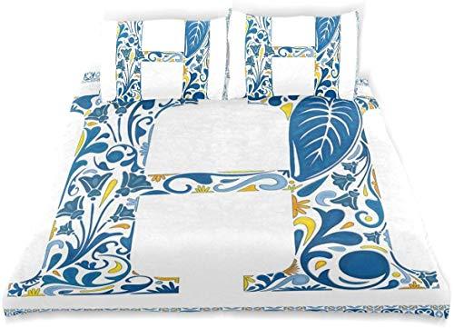 Juego de funda nórdica Marco de azulejo Flores y hojas Esquema de colores abstractos Juego de cama decorativo de inspiración portuguesa de 3 piezas con 2 fundas de almohada Fácil cuidado Anti-alérgico