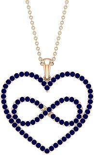 قلادة قلب إنفينيتي 1 قيراط مع الياقوت الأزرق (جودة AAA)