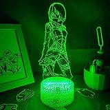Lámpara de noche 3D Mikasa Ackerman Attack on Titan Anime 3D lámpara para niños jóvenes dormitorio decoración Mikasa Night Light Navidad cumpleaños regalos lámpara de mesa 7 colores táctil