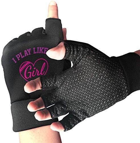 Licht Saber DUN gripvaste halve vinger fietshandschoenen I Play als een meisje baseball oefenhandschoenen voor gym gewichtheffen training fitn biking