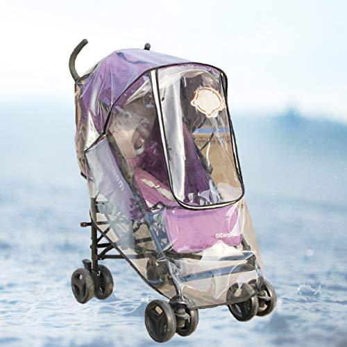 Transparent Universal Regenschutz,Qiundar Universal Regenverdeck mit Reißverschluss Belüftungsöffnungen Stroller Rain Cover und 2 Pcs Einkaufsnetz,für Kinderwagen Sportwagen Buggy
