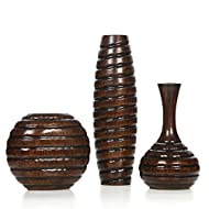 Hosley Set of 3 Carved Wood Vases Small 6 Inch Medium 8 Inch and Tall 12 Inch High Ideal Gift for Wedding and Use for Home or Office Decor Fireplace Floor Vases Spa Aromatherapy Settings O9