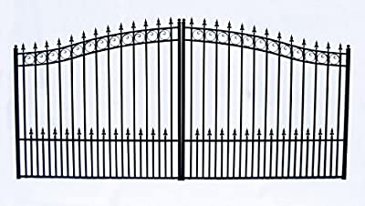 ALEKO DG14PRAD Prague Style Single Swing Galvanized Steel Driveway Security Gate 14 x 6 Feet Black