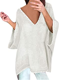 TUDUZ Blouse Women's Blouses Vintage Plain Cotton And Linen Tunic Tops Baggy V Neck Long Sleeve Split Hem Casual Tops 3XL White