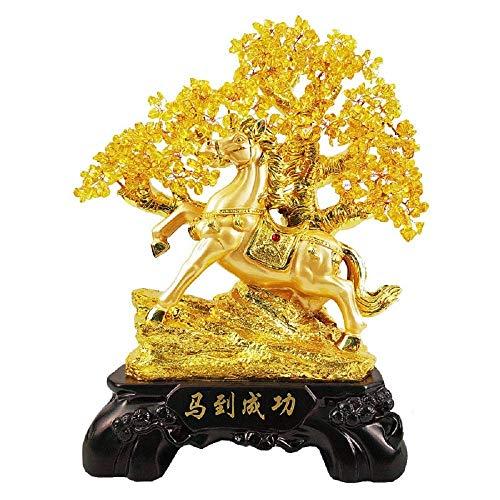 Gem Tree Luck Money Tree Gem Feng Shui Árbol para Sala de Estar Sala de Estudio Balcón para Riqueza Buena Suerte (Color: Amarillo, Tamaño: 38x18x48cm)