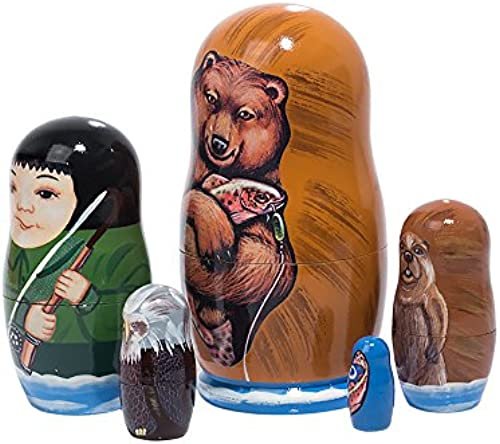 Fishing Adventure Russian Nesting Doll 5pc. 4