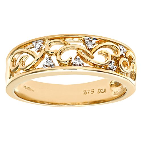 Naava Women's Gold Ring, 9 ct Yellow Gold with Delicate Diamond Detail